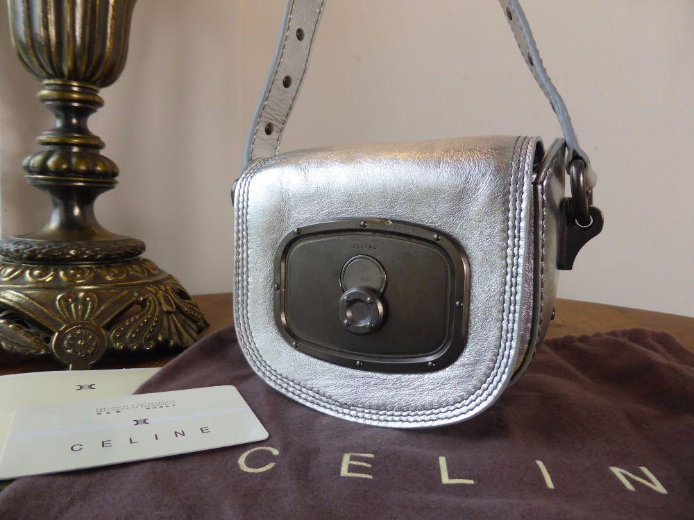 Celine Petit Balladine in Metallic Silver Calfskin