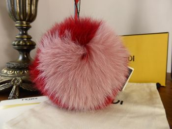 Fendi Heart PomPom Charm in Red and Pink Fur - New