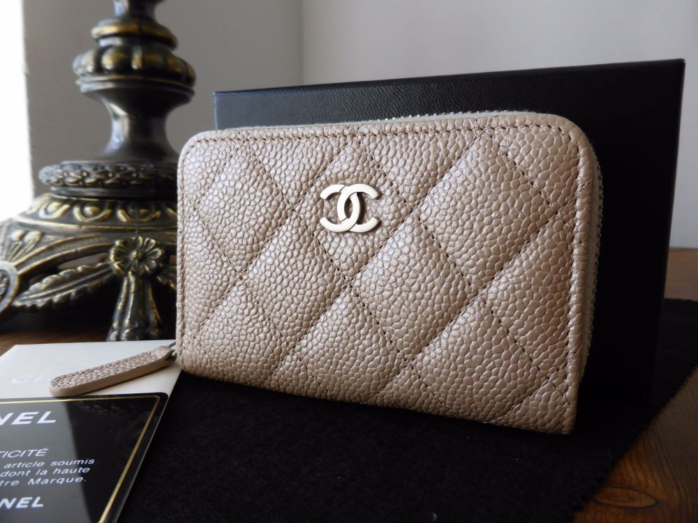 Chanel Classic Quilted Compact Zip Around Purse in Beige Pearlized Caviar