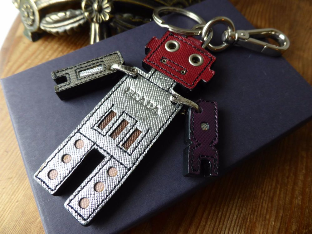 Prada Robot Multi Saffiano Keychain Bag Charm Portachiavi