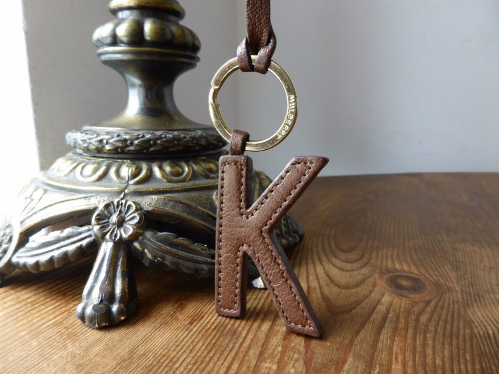 Mulberry Letter K Bagcharm in Bronze Metallic Goat Leather