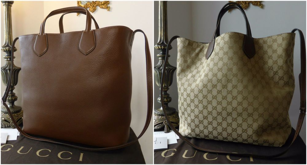 Gucci Ramble Reversible Tote in Nut Brown Calfskin with Monogram - New
