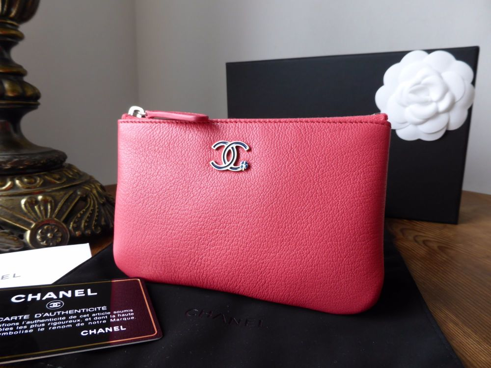 Chanel Lucky Clover Mini O Case Zip Pouch in Pink Calfskin - New*