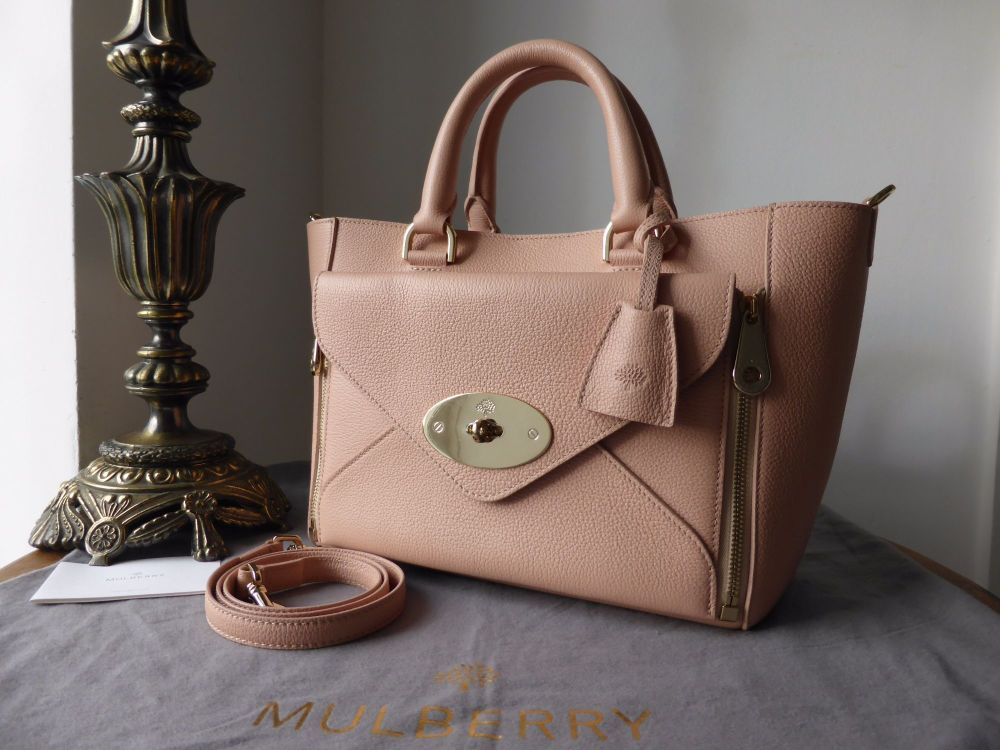 Mulberry Small Willow Tote in Ballet Pink Grainy Calf & Samorga Felt Liner
