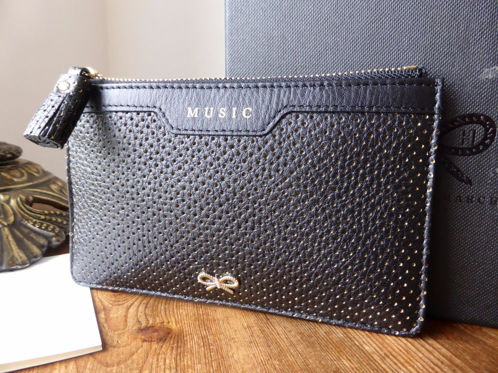 Anya Hindmarch Music Zip Pouch in Black Perforated Metallic Calfskin - New