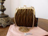 Miu Miu Mini Frame Bag in Olive Velvet Matelasse - As New