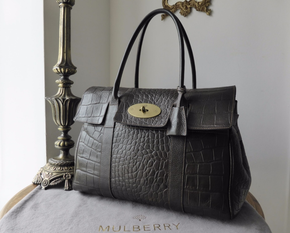 Mulberry Bayswater in Chocolate Vegetable Tanned Printed Leather