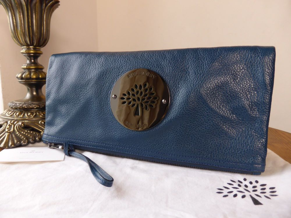 Mulberry Daria Clutch in Petrol Soft Spongy Leather with Dark Silver Hardwa