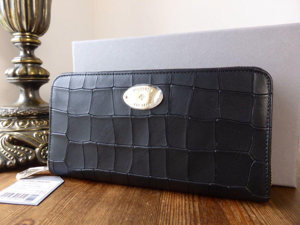 Mulberry Continental Zip Around Purse in Black Deep Embossed Croc Print Lea