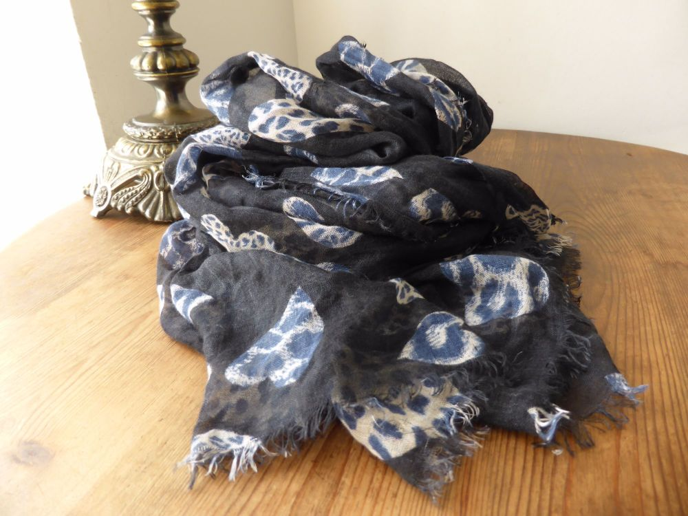 Mulberry Leopard Hearts Printed Square Wrap in Modal Cashmere