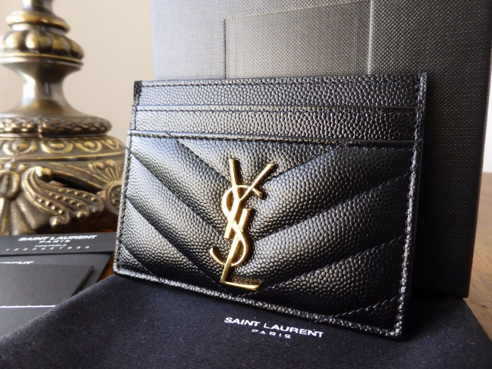 YSL Saint Laurent Credit Card Slip Wallet in Black Grain De Poudre Textured