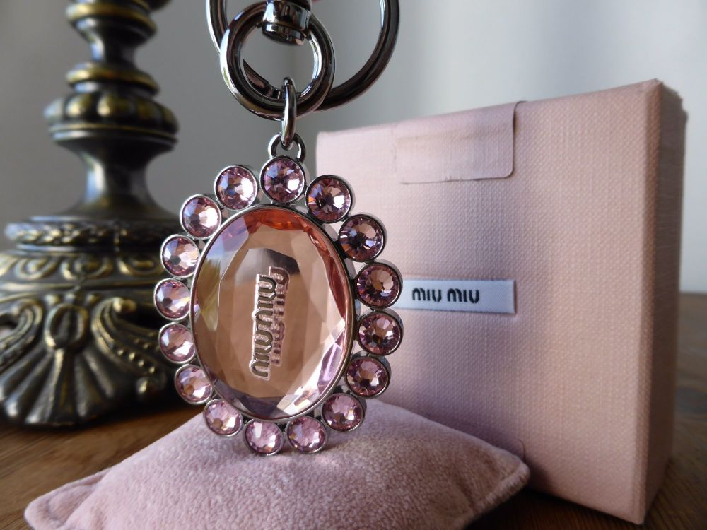 Miu Miu Bag Charm Keyring Crystal Rosa - New