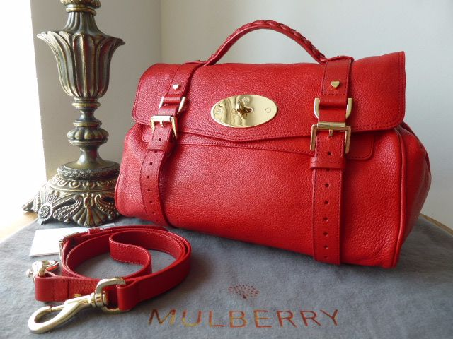 Mulberry Regular Valentine Alexa in Red Glossy Goat Leather
