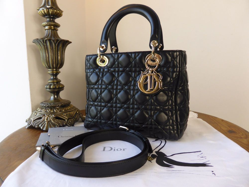 Dior Supple Lady Dior in Black Lambskin with Light Gold Hardware