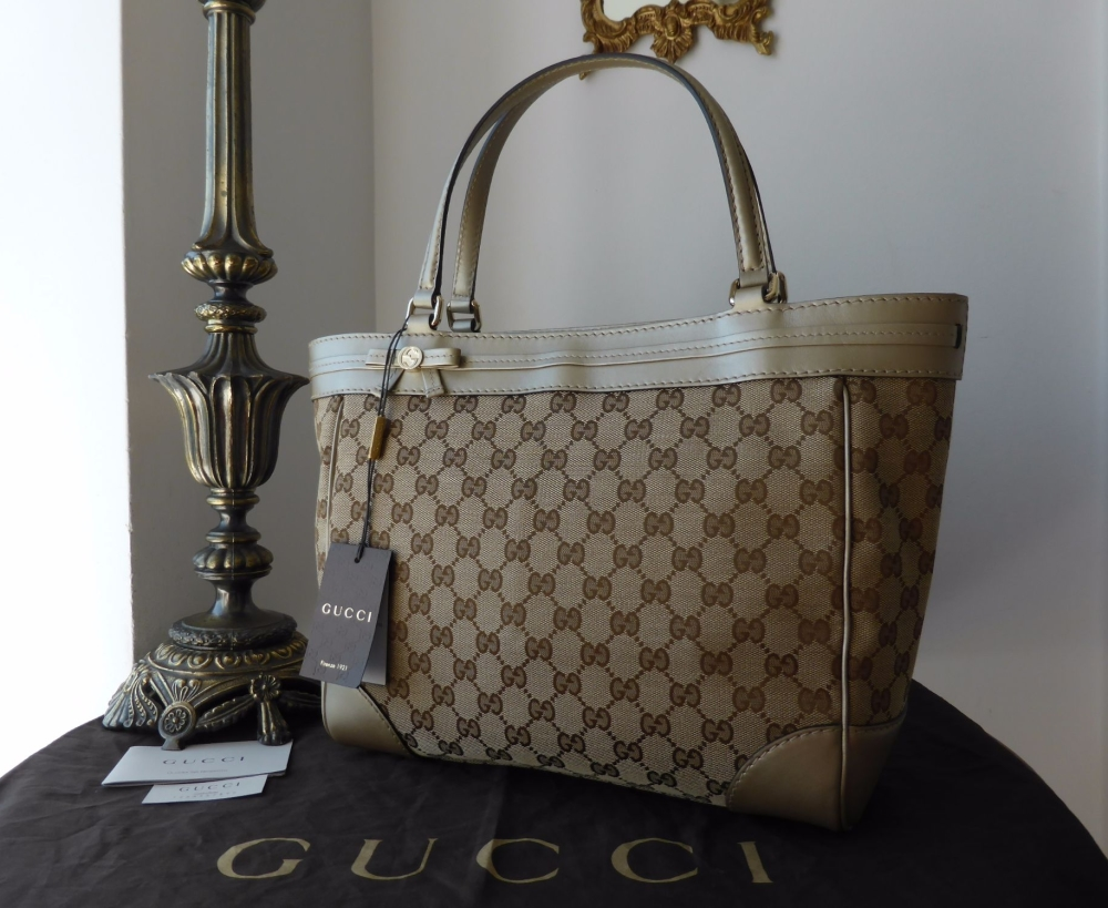 Gucci Mayfair Tote in Ebony Beige GG Monogram with Champagne Gold Metallic
