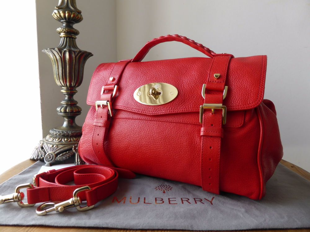 Mulberry Regular Valentine Alexa in Bright Red Glossy Goat Leather