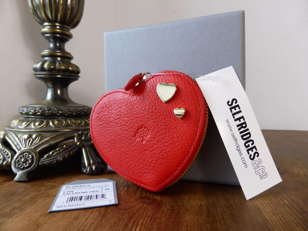 Mulberry Valentines Heart Zip Around Purse in Bright Red Glossy Goat Leathe