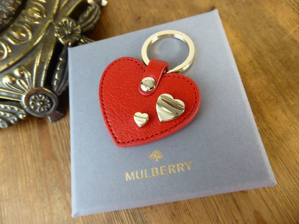 Mulberry Valentines Heart Key Ring in Bright Red Glossy Goat Leather - New