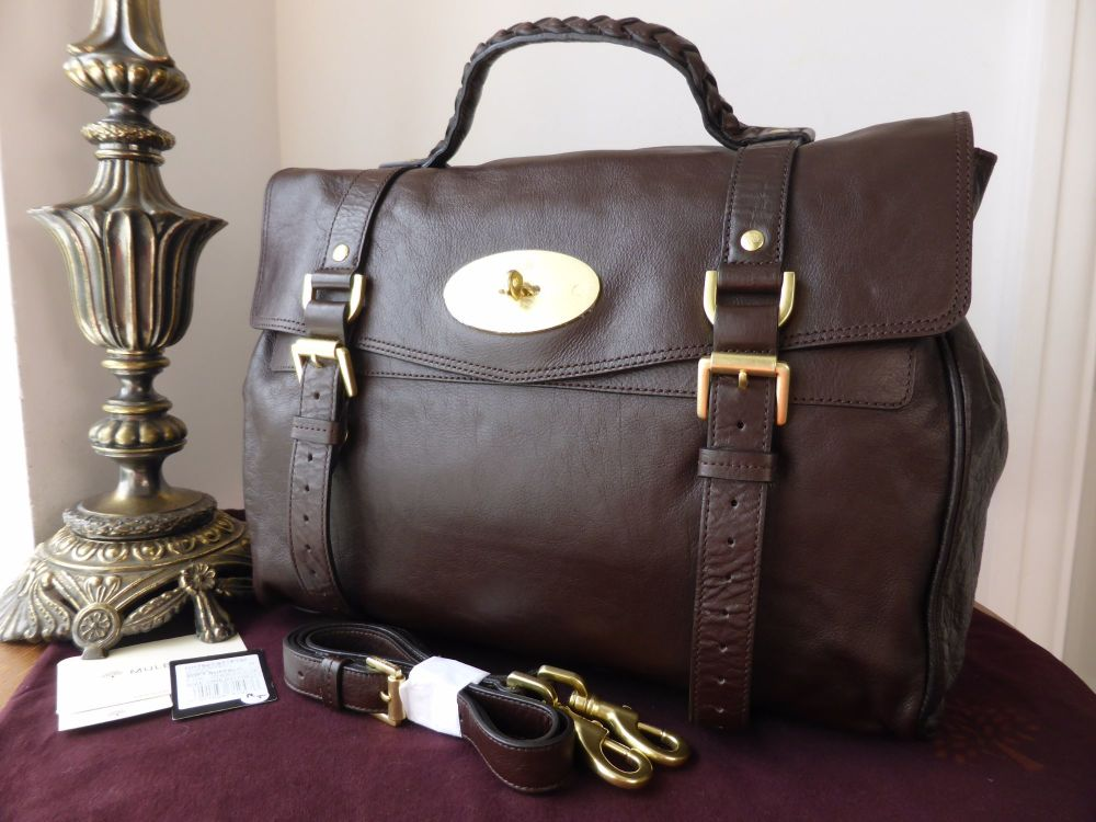 Mulberry Oversized Alexa in Chocolate Buffalo Leather - New