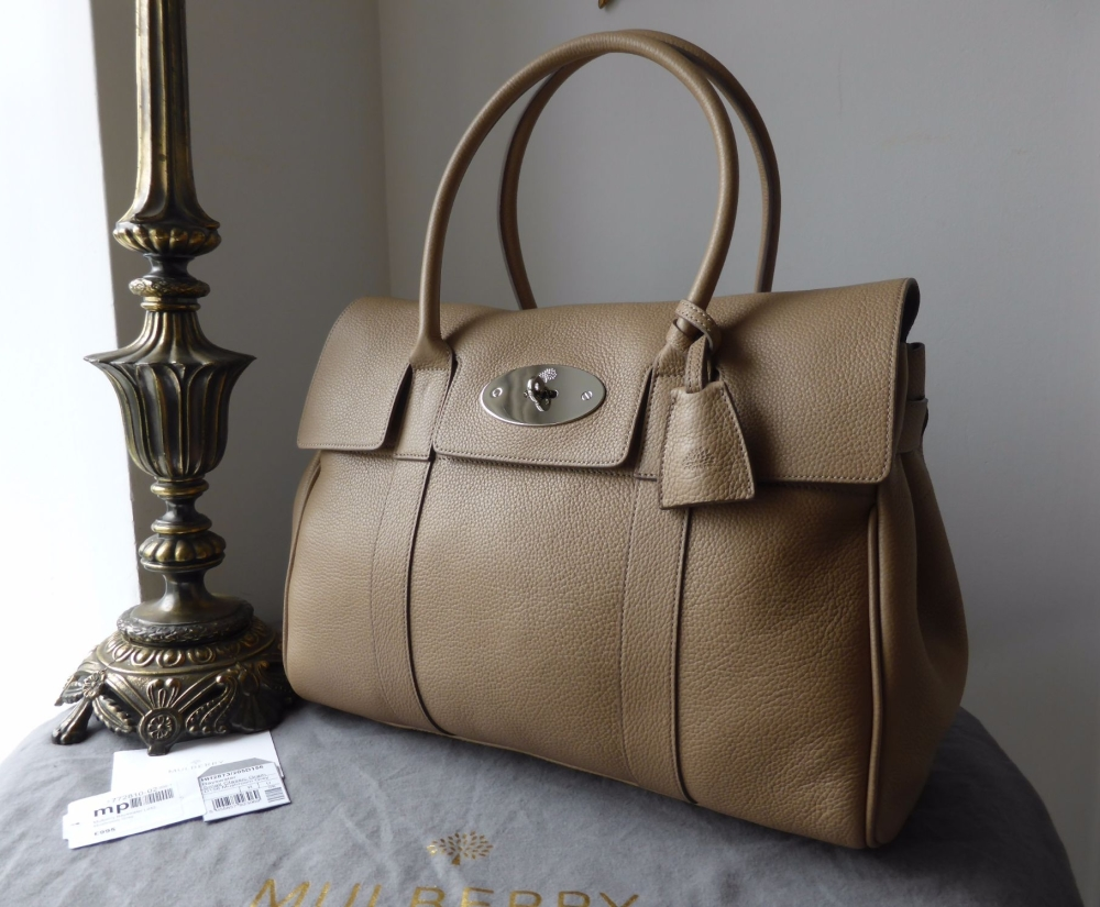 Mulberry Classic Bayswater in Mushroom Small Classic Grain