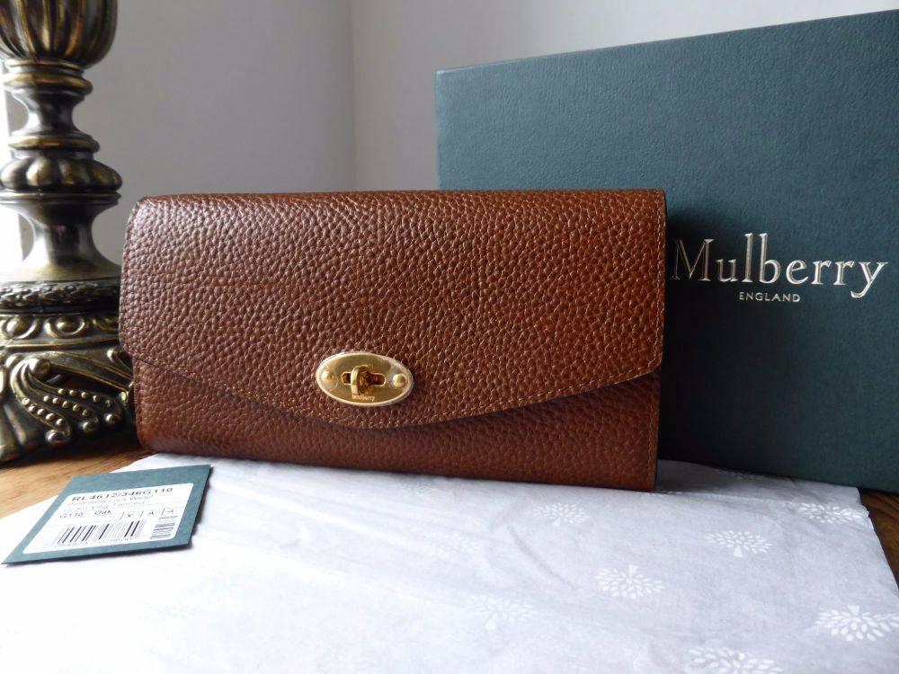 Mulberry Darley Postmans Lock Continental Wallet in Oak Grainy Print - New