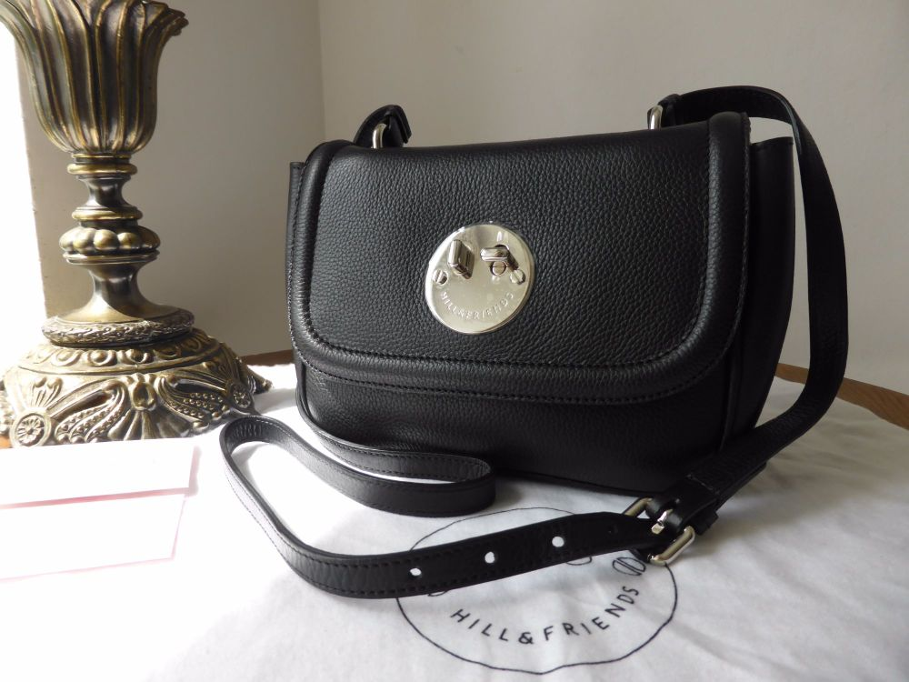 Hill & Friends Happy Mini Bag in Liqourice Black Grainy Calfskin with Silve