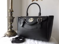 Hill & Friends Happy Satchel Tote in Liqourice Black Grainy Calfskin with Silver Hardware - As New