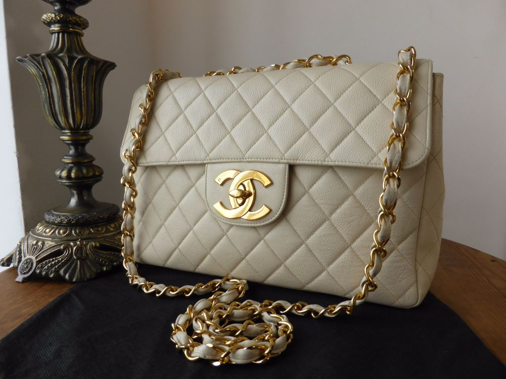 8ad229df9cbf Chanel Vintage Jumbo Single Flap in Cream Caviar Leather with Gold Hardware