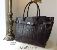 Mulberry Large Zipped Bayswater in Oxblood Deep Embossed Croc Print Leather