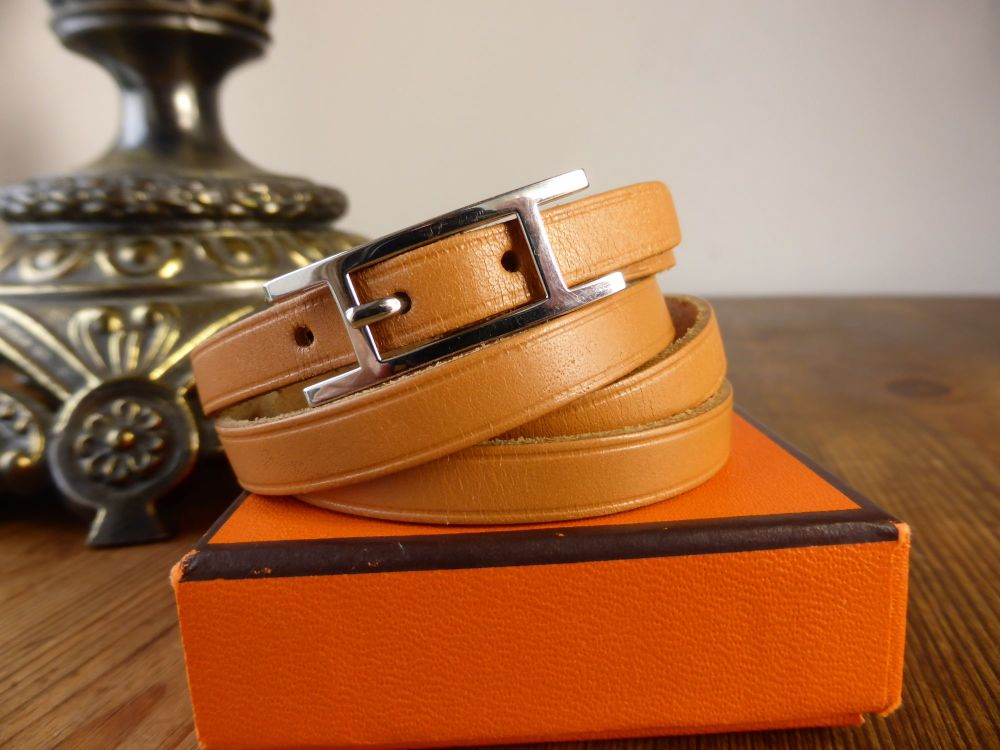 Hermés Hapi H 3 MM Quadruple Tour Leather Wrap Bracelet with Palladium Hard
