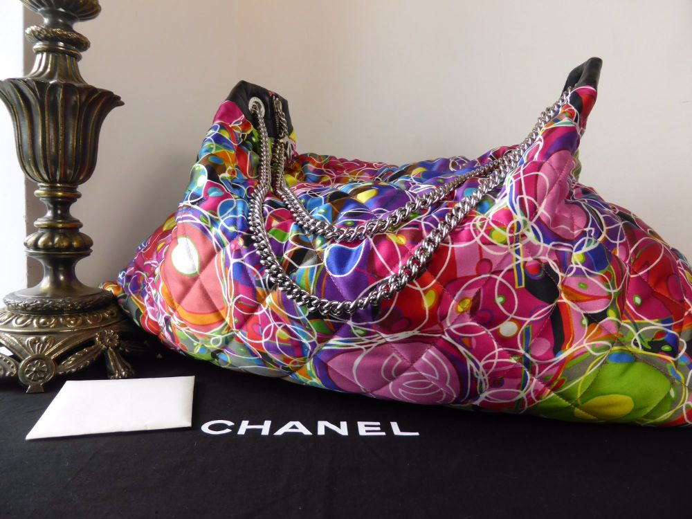 Chanel Kaleidoscope Large Satin Tote with Palladium Hardware.