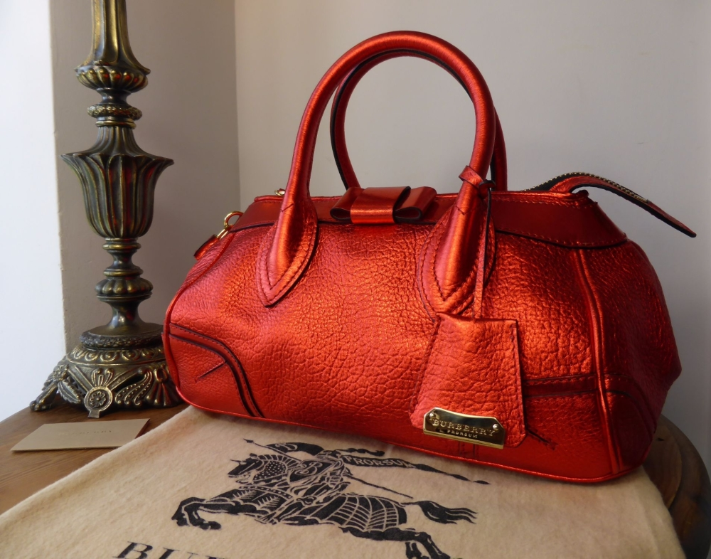 Burberry Prorsum Blaze Boston in Metallic Cadmium Red Leather