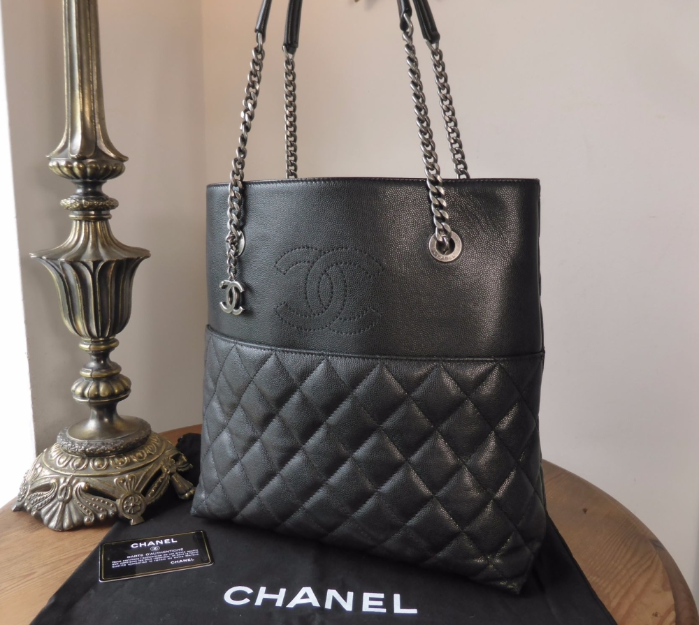 Chanel Medium Charm Tote in Black Caviar with Ruthenium Hardware