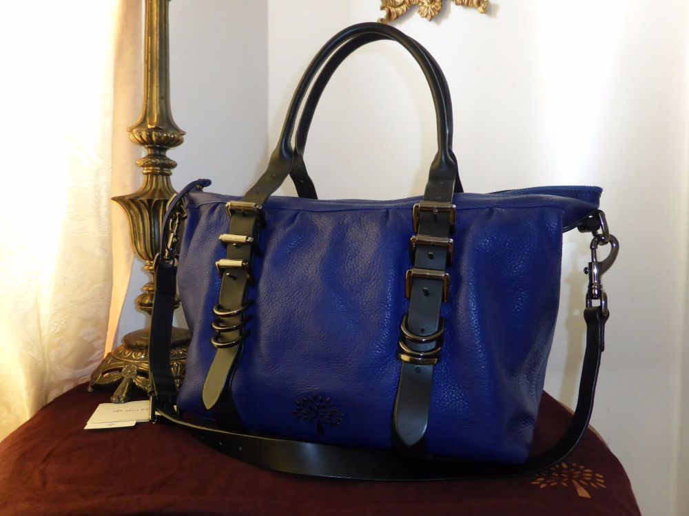 Mulberry Mila Small Clipper in Electric Blue Soft Matte Leather with Samorg