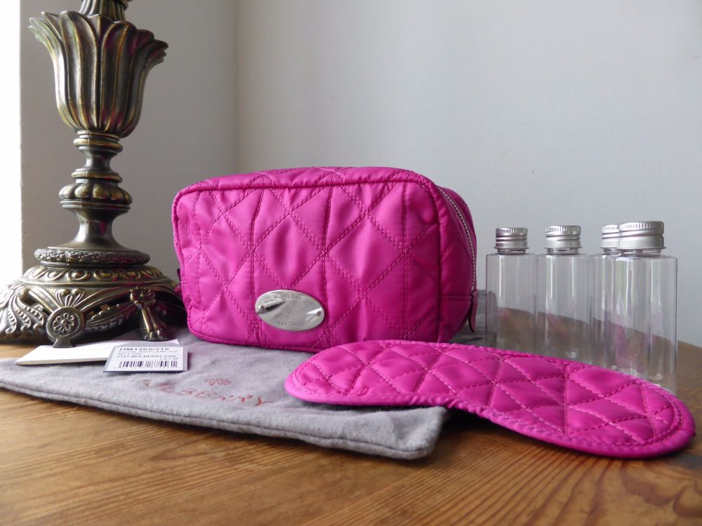 Mulberry Rosie Zipped Airplane Kit in Mulberry Pink Quilted Nylon - New