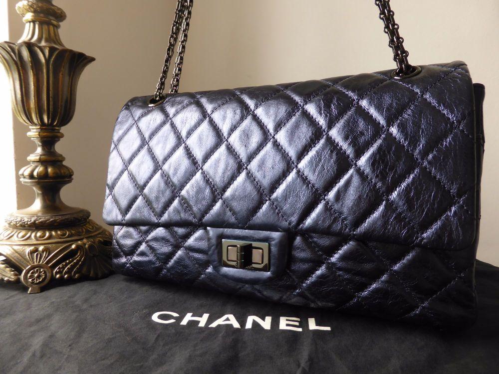 Chanel 2.55 Reissue 227 Jumbo Flap in Metallic Blue Calfskin with dark silv