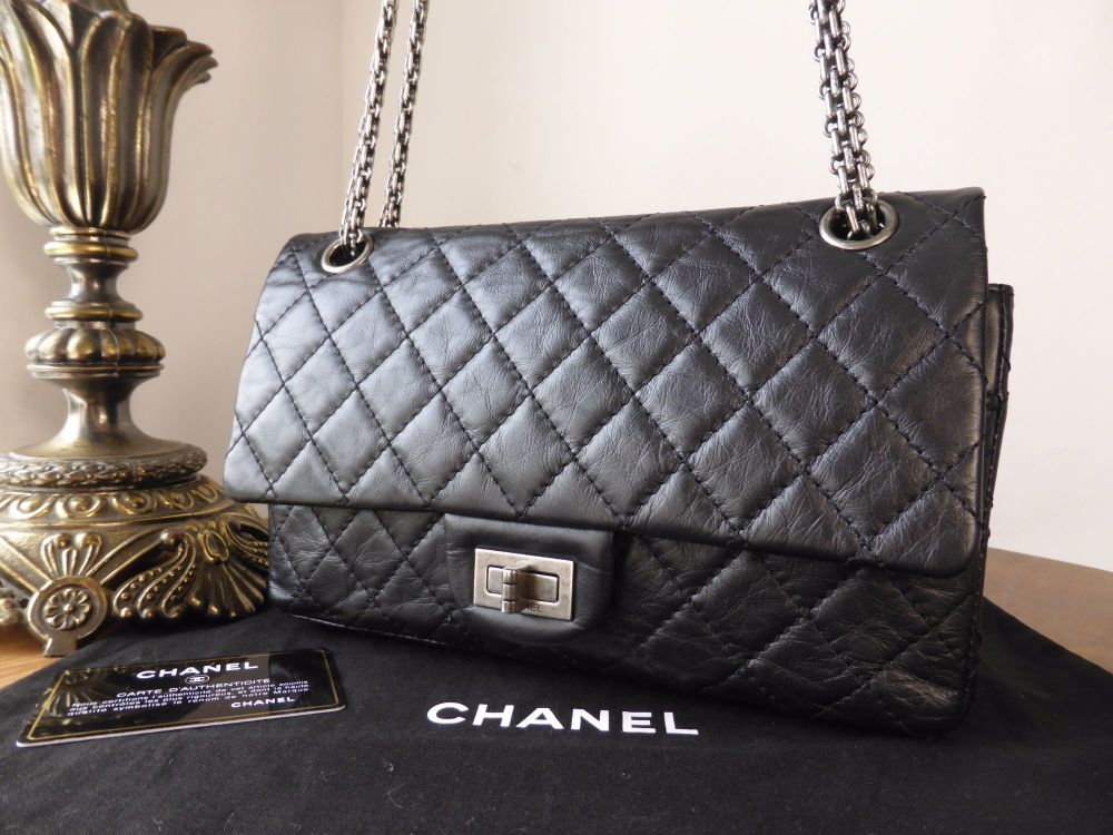 Chanel 225 Reissue Mademoiselle Flap in Black Distressed Calfskin with Ruth