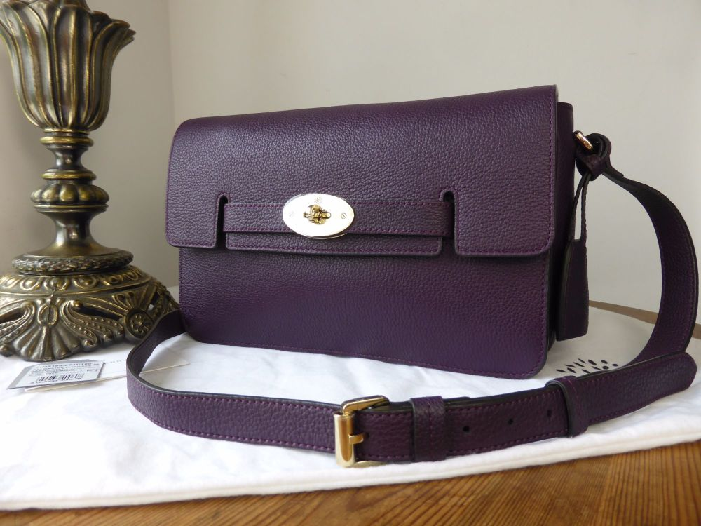Mulberry Bayswater Shoulder in Aubergine Grainy Calf Leather - New