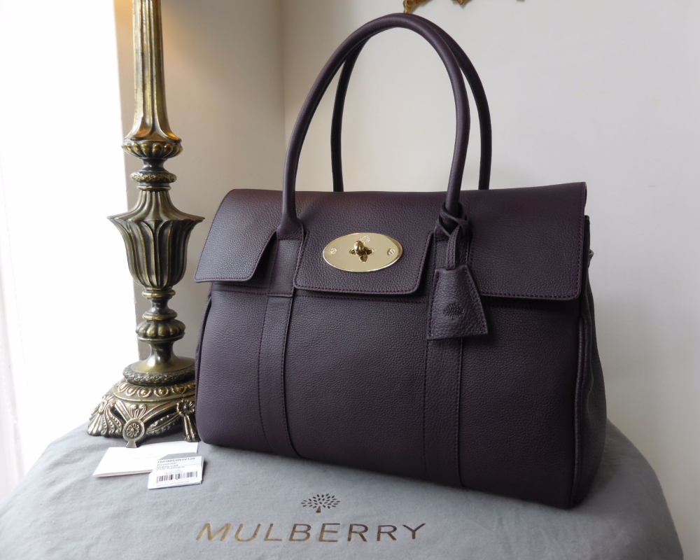 Mulberry Classic Bayswater in Aubergine Grainy Calf Leather - New