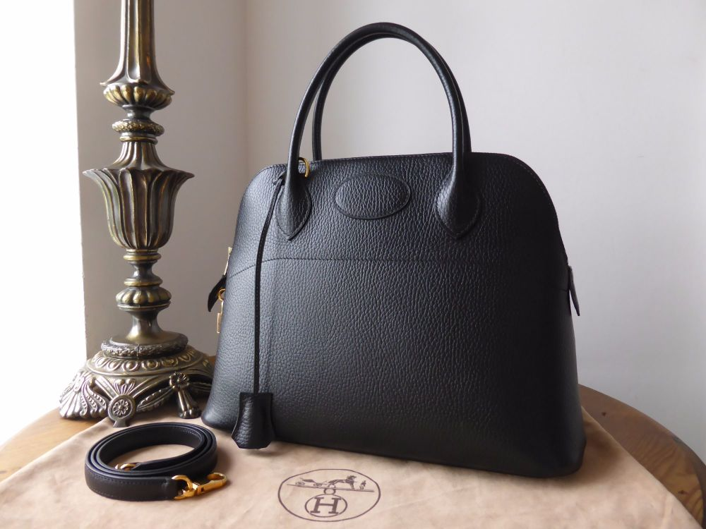 Hermés Bolide 31 Rigide in Ardennes Noir with Gold Hardware