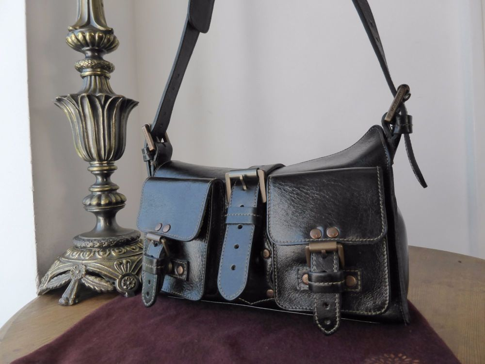 Mulberry Blenheim Vintage in Black Antique Glace Leather with Bronze Hardwa