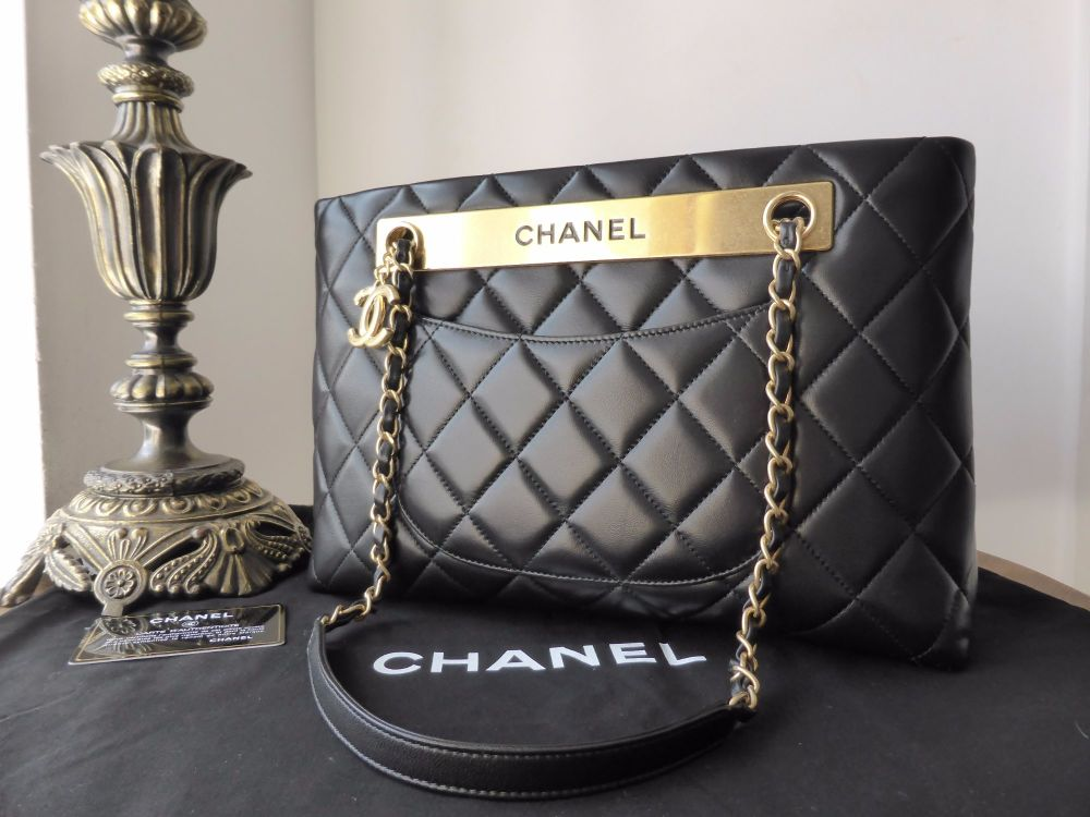Chanel Classic Quilted Shoulder Bag  in Black Lambskin with Antiqued Gold H