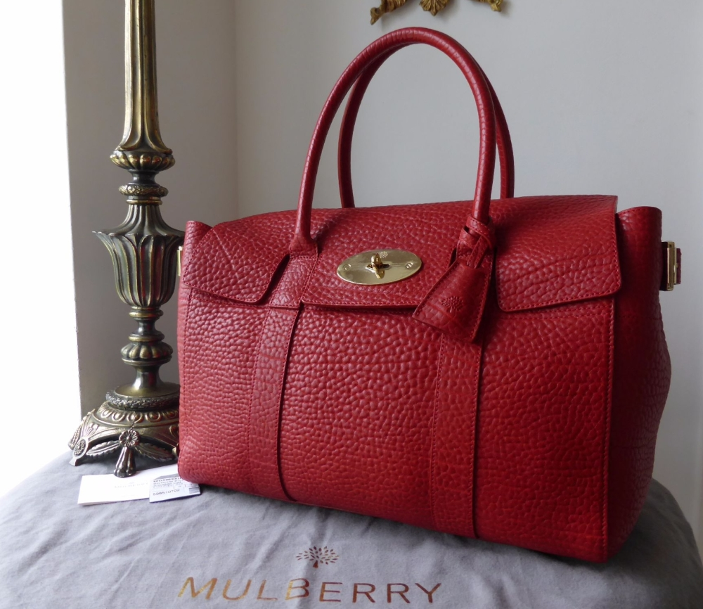 Mulberry Large Bayswater Buckle Bag in Poppy Red Shrunken Calf - New