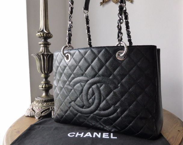 Chanel Grand Shopping Tote in Black Caviar with Silver Hardware