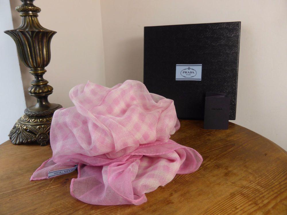 Prada Pink Gingham Check Gossamer Cashmere Wrap Scarf - New