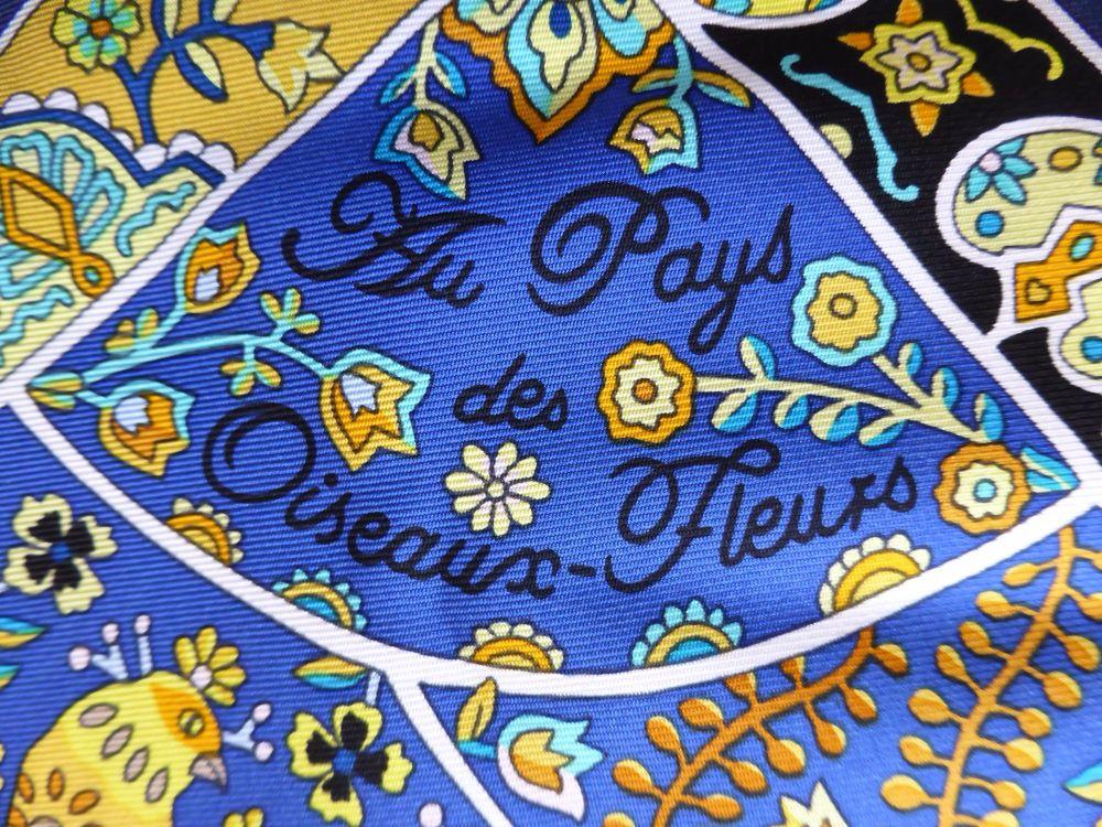 Hermés Silk Scarf Carre 'Au Pays Des Oiseaux Fleurs' Christine Henry 90cm -