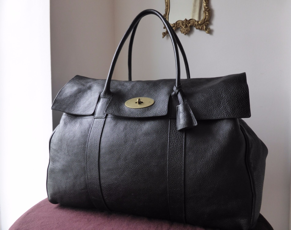 Mulberry Piccadilly Large Travel Bag In Black Natural Leather