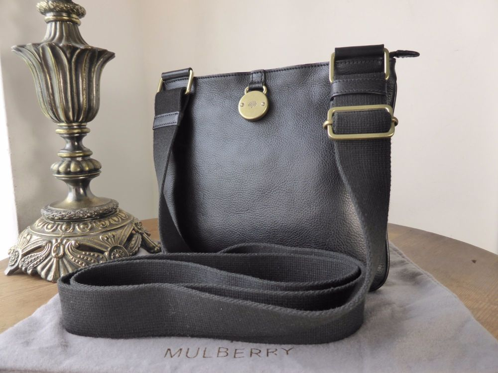 Mulberry Small Somerset Zipped Messenger in Black Natural Leather