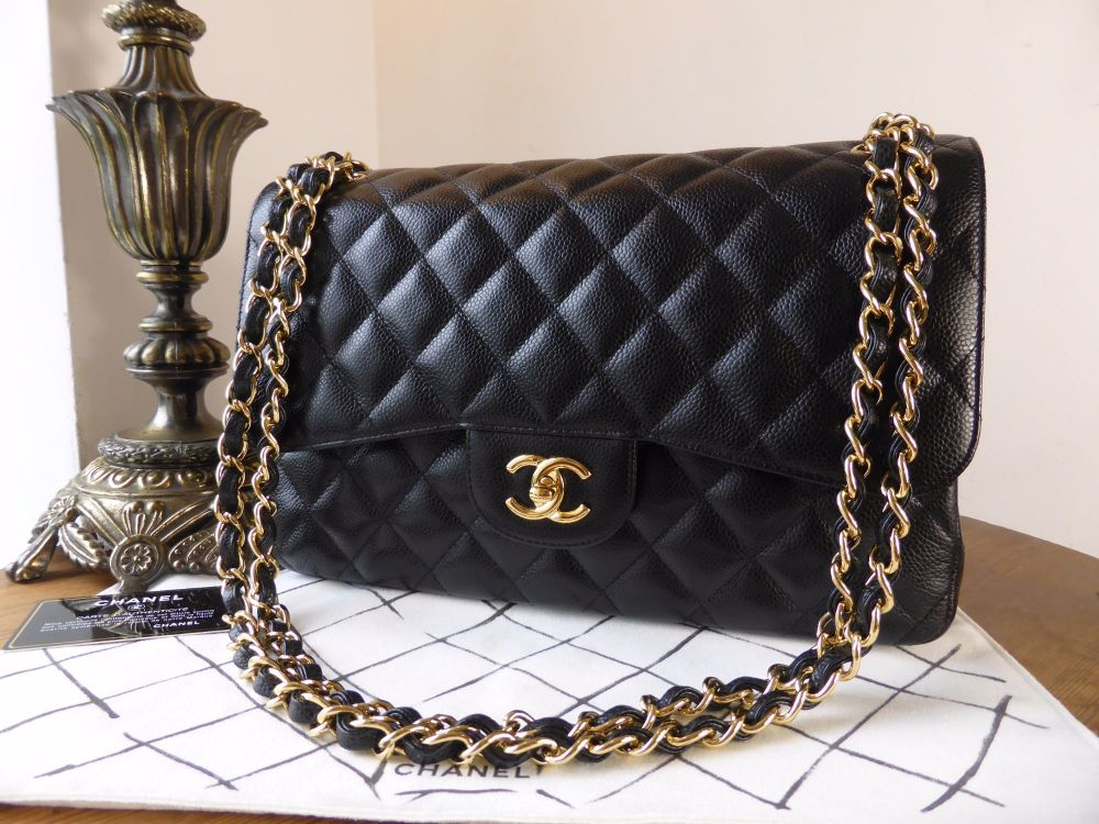 Chanel Classic Jumbo Double Flap Black Caviar with Gold Hardware - As New*