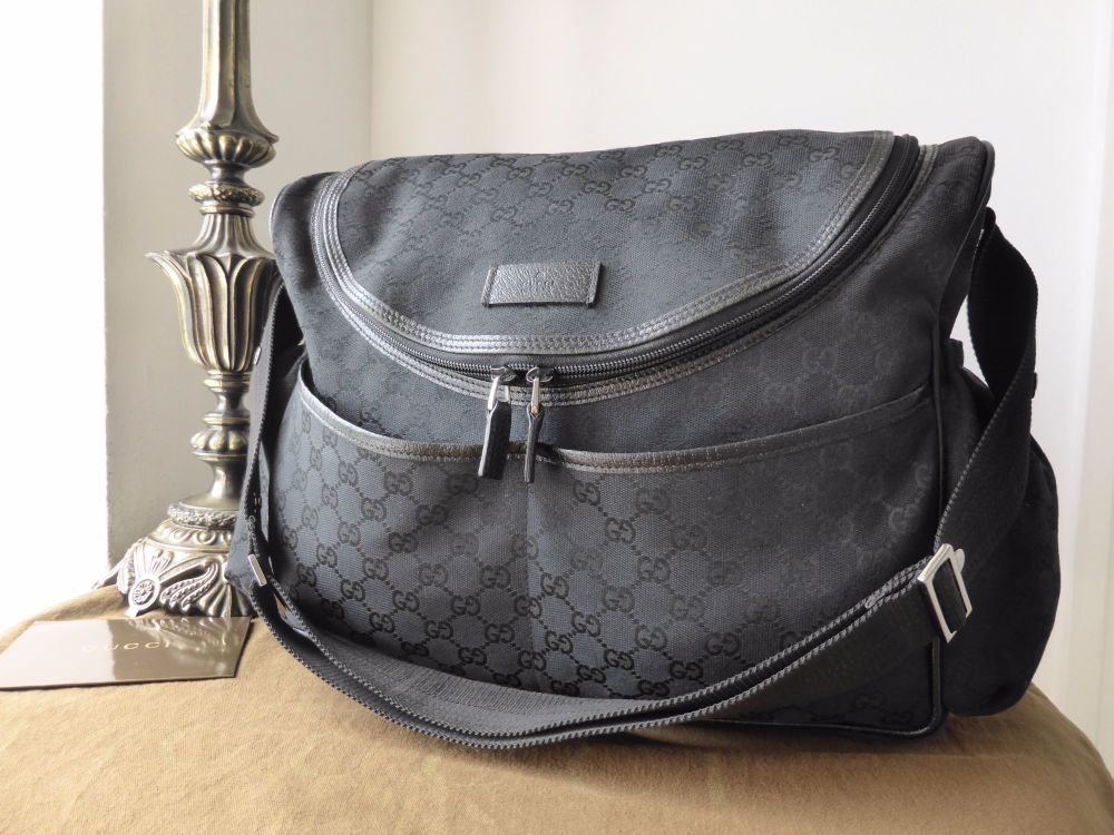 96763ef4b2d0eb Gucci Baby Changing Nappy Diaper Bag in Black GG Monogram Canvas